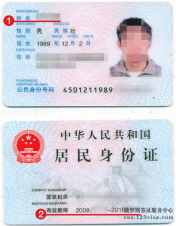 俄罗斯签证材料身份证复印件模板